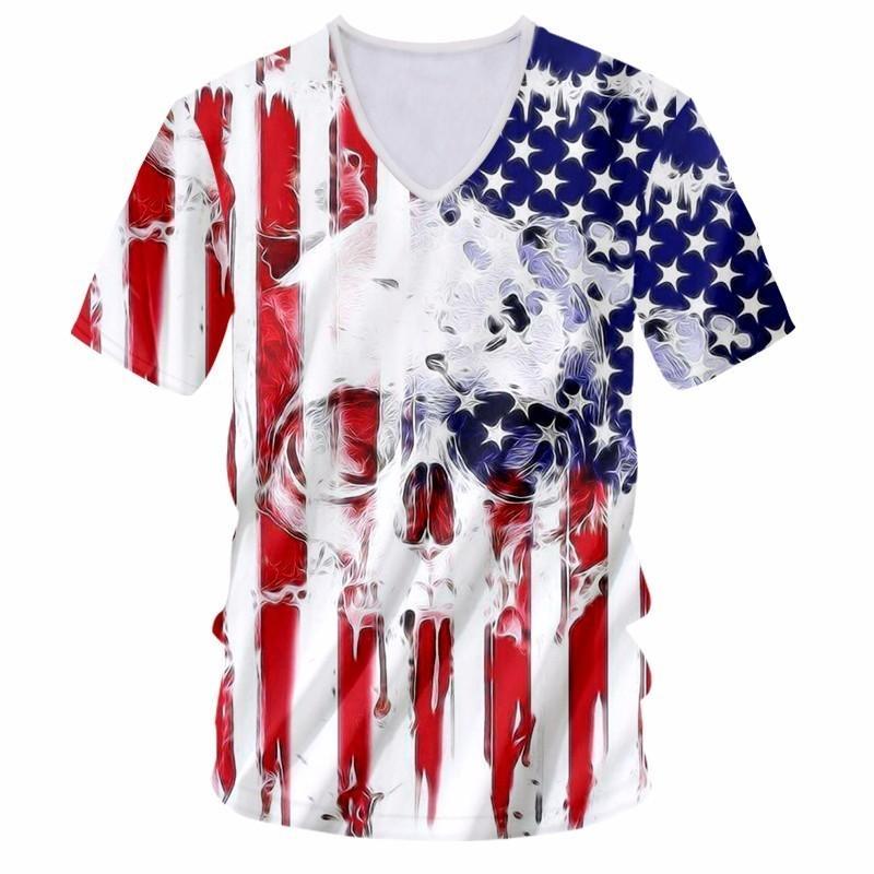 Nueva Ropa de Moda Hombre Divertido Fresco Impresión 3D Bandera Americana Cráneo Camisetas Harajuku Tops Camisetas Más Tamaño Moda Casual Camiseta Unisex