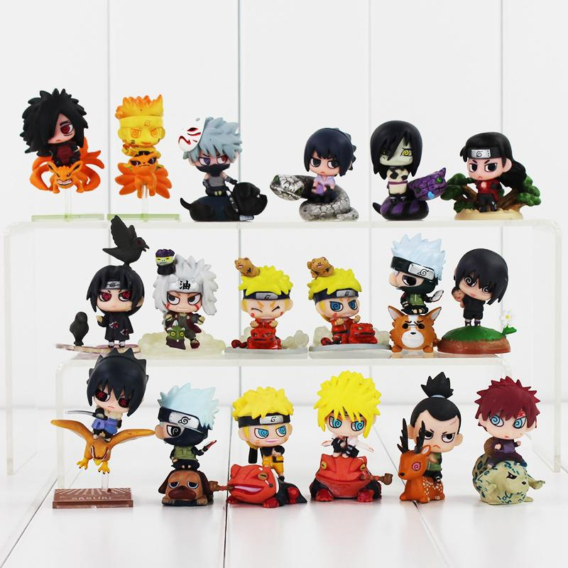 Yüksek kalite 18 adet / grup Naruto Uchiha 4-6 cm Sasuke Uchiha Itachi Kakashi Jiraiya Aksiyon figürü Oyuncakları hediye çocuklar için Y200421