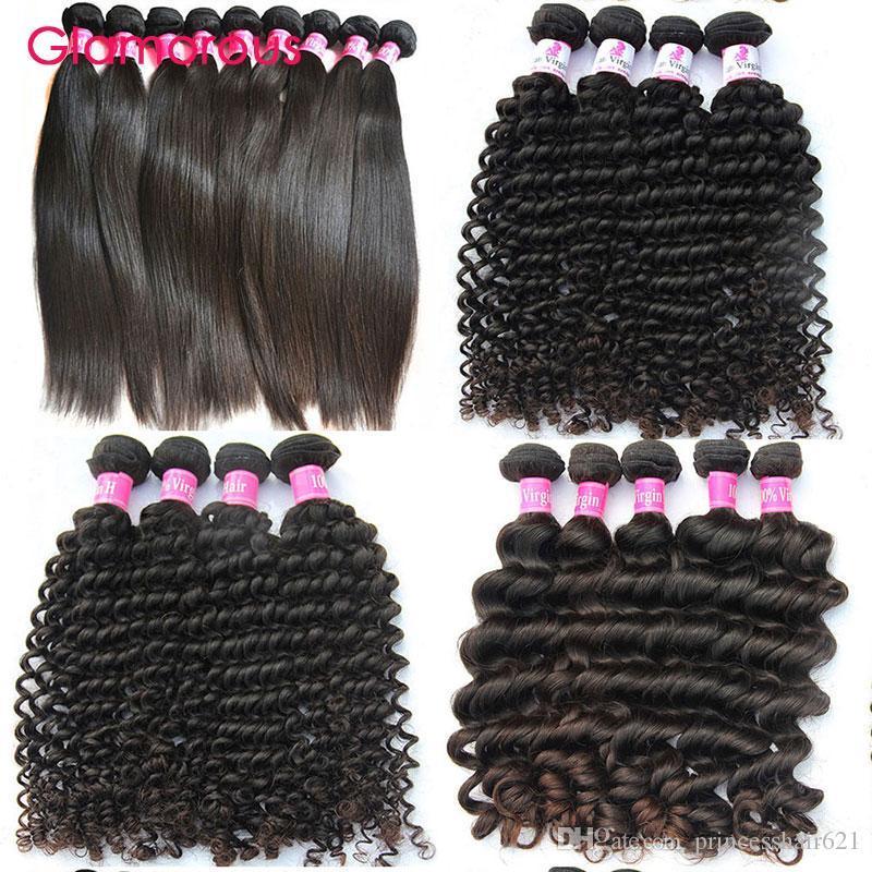 براقة عذراء الشعر بالجملة غير المجهزة البرازيلي الشعر البشري ينسج 10 حزم موجة عميقة مستقيم الشعر ملحقات
