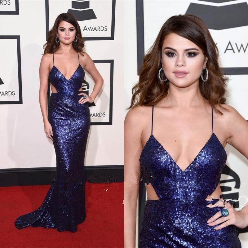 Selena Gomez 2019 Grammy Awards Robes De Soirée Profonde Col En V Dos Nu Sexy Bling De Luxe Étincelle Robes De Soirée Robe D'occasion Creuse 1099