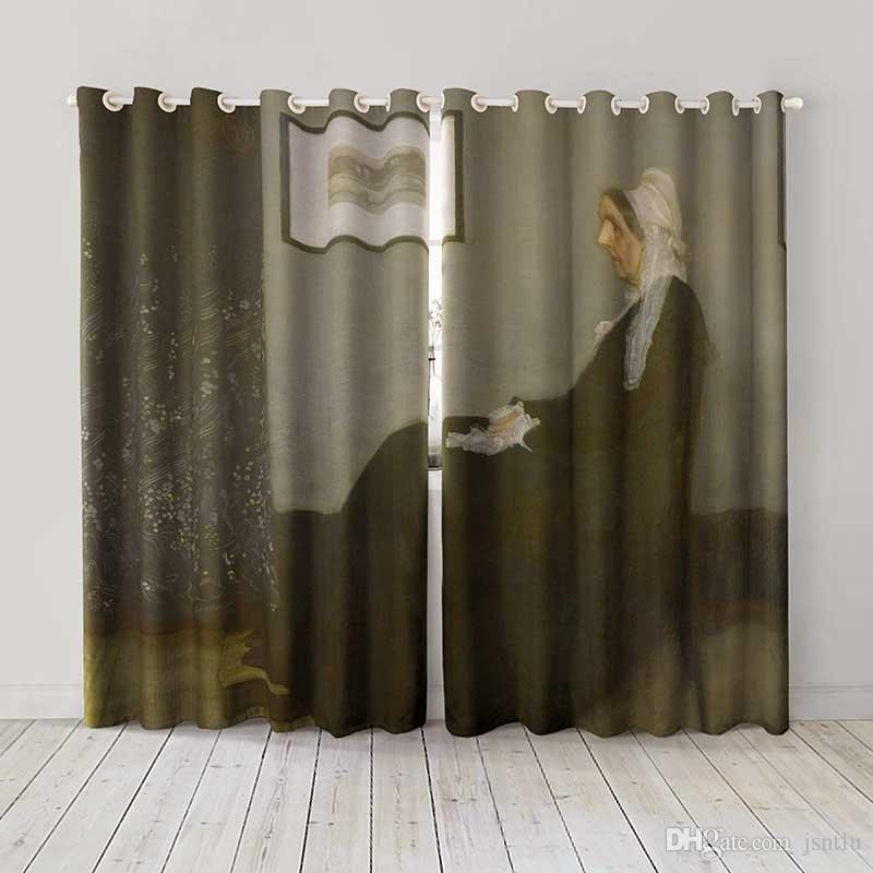 Personality Custom curtain world famous painting Whistler's Mother drapes Extra wide Blackout curtain party decoration background