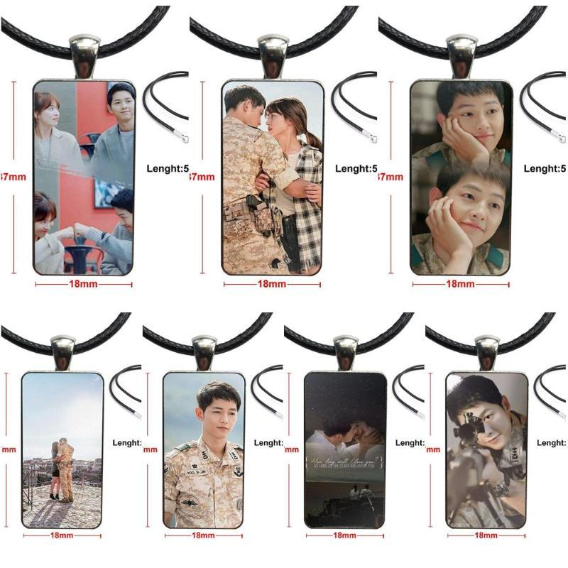 Glass Cabochon Pendant Necklace Rectangle Fashion Necklace For Child Korean Drama The Descendants Of The Sun