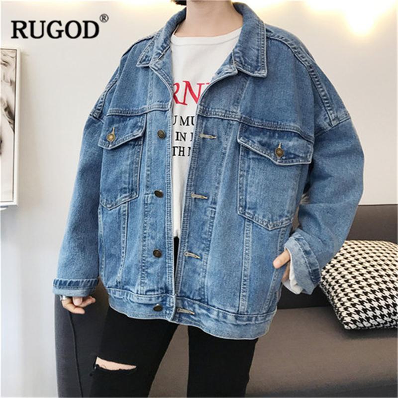 RUGOD Vintage Mode-Mantel Frauen-fester beiläufiger lose Einreiher Plus Size Weiblich Jeans Jacke T200407