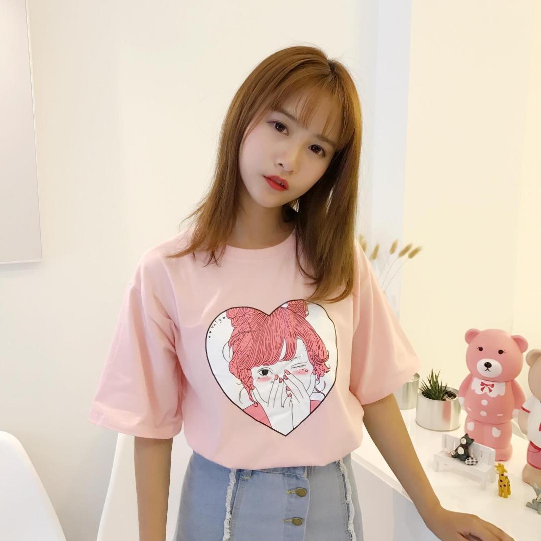 Sommer Neue Mode Niedlichen Charakter Gedruckt Alle Spiel Baumwolle Kurzarm Weibliche T-shirts Frauen Schönheit Kleidung