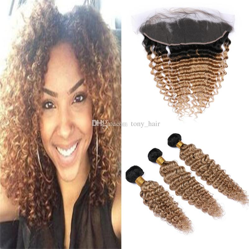 Deep Wave Curly Ombre 1B/27 Honey Blonde Hair Bundles with Frontal Lace Closure Dark Roots Light Brown Human Hair Weave with Frontals