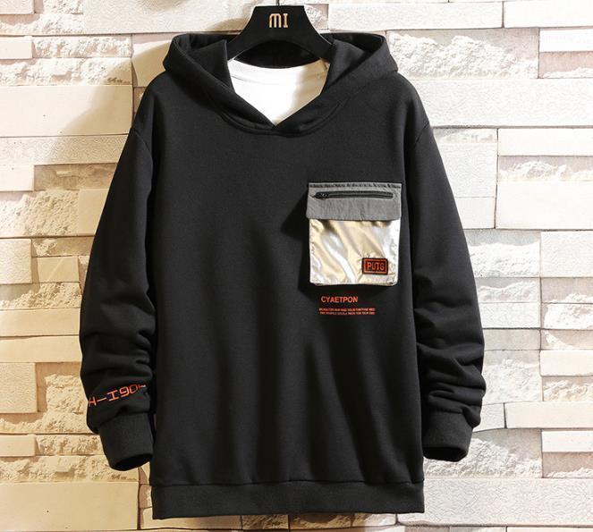 Pullover Langarm Brief Print Sweatshirts Männlich Kleidung Herren Designer Crew Neck Pullover mit Kapuze Reißverschluss-Tasche