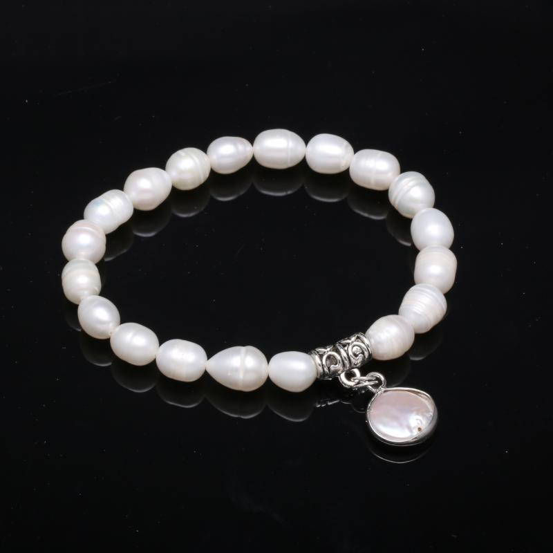 Natural Freshwater Pearls Pendants Bangles Bracelets For Women Gift Party Jewelry Accessories length 19cm Pendant Size 8-9mm