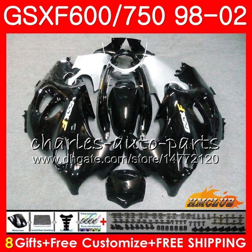 Body Gloss Black pour Suzuki Katana GSXF 750 600 GSXF600 98 99 00 01 02 2HC.19 GSX750F GSX600F GSXF750 1998 1999 2000 2001 Kit de carénage 2002