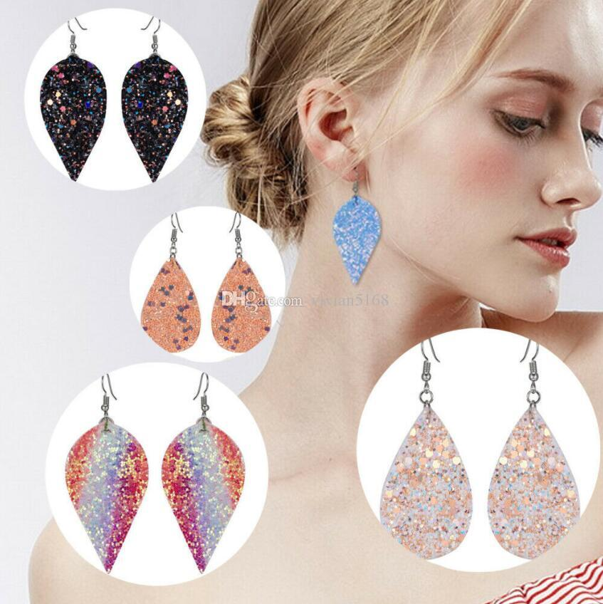 Bohemia Multicolor Sequins Leather Drop Earrings PU Leaves Leather Long Drip Dangle Earrings For Women Fashion Jewelry Party Gifts 12 Colors