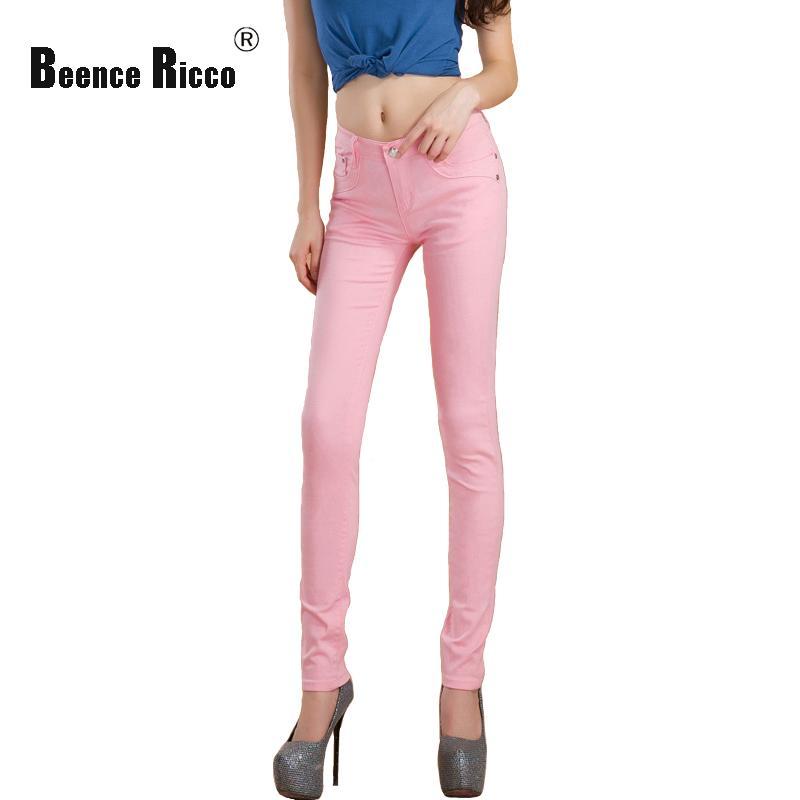 Spring women jeans denim cotton low waist plus size slim pencil pants pink elastic skinny long summer autumn trousers femme W116