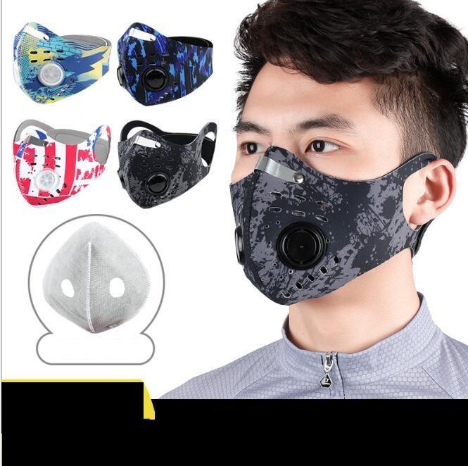 Masques de bande de sport en plein air de camouflage Vélo moitié visage masque activé boucle d'oreille néoprène anti-smog carbone masque de filtre à air