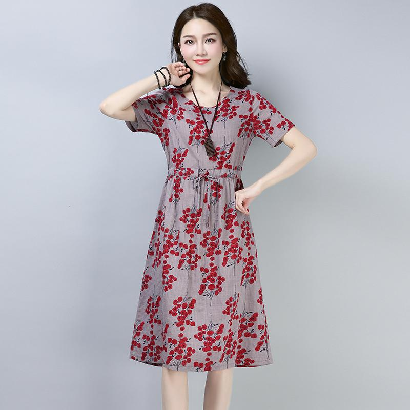 2019 New Large Size Cotton Linen Women Summer Dress Short Sleeve O-Neck Boho Dress for Women Lace Up Floral Print Vestidos Mujer