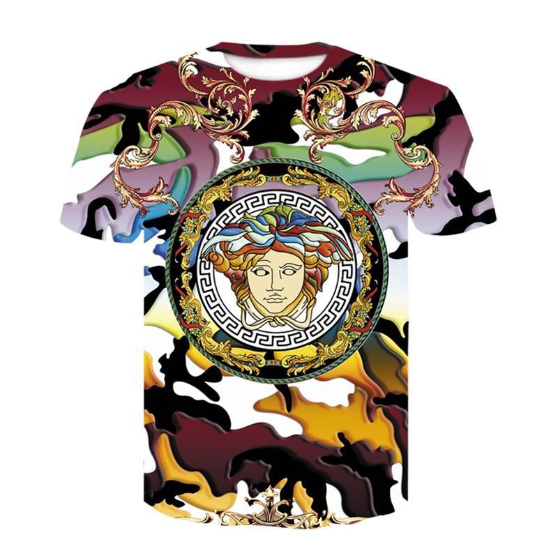 T-shirt estiva da uomo taglie forti Harajuku 3d T-Shirt con stampa di lusso fiore d'oro unisex Sexy scollo a V barocco royal nobile Clothin Ypf262