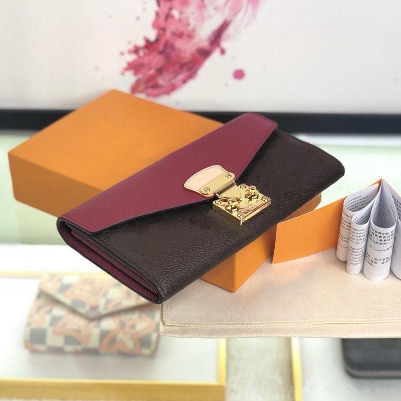 kutu ile 2019 yeni moda en kaliteli yeni moda tasarımcısı bayanlar lüks cüzdan ünlü cüzdan bayanlar uzun deri cüzdan