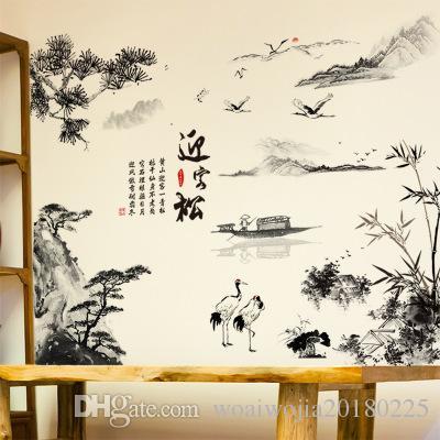 20190621 vento chinês autoadesivo papel de parede, paisagem saudação, parede de fundo de TV de pinho, sala de parede parede degola