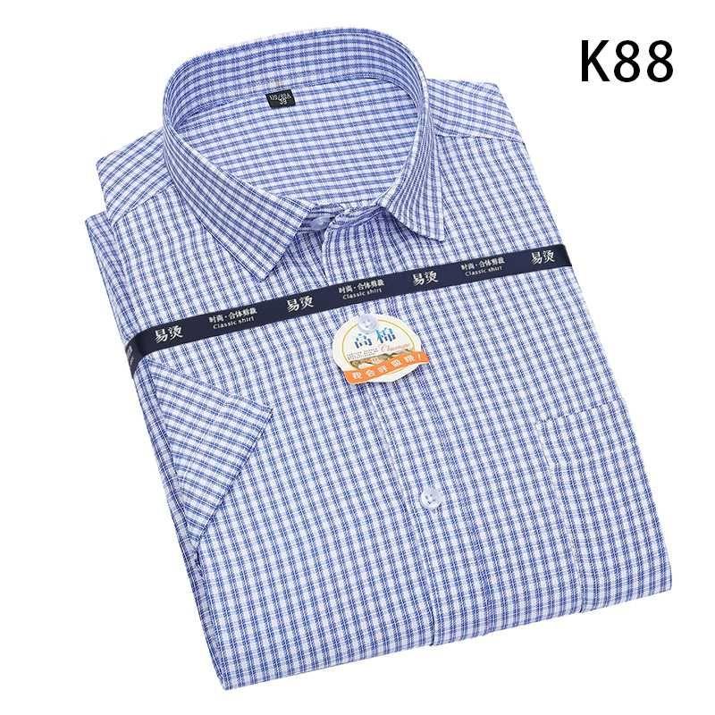 marque Aoliwen chemise à manches courtes chemise à carreaux casual mince été à carreaux hommes col carré de doux hommes occasionnels S-6XL