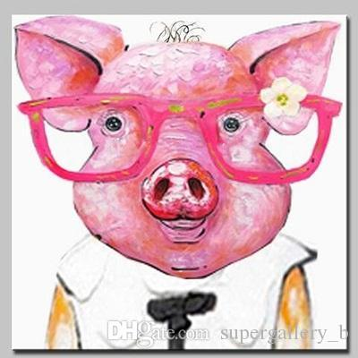 Hand-painted Abstract Animal Glass Pink Piggy Oil Painting On High Quality Canvas Modern Home Decor Wall Art a117