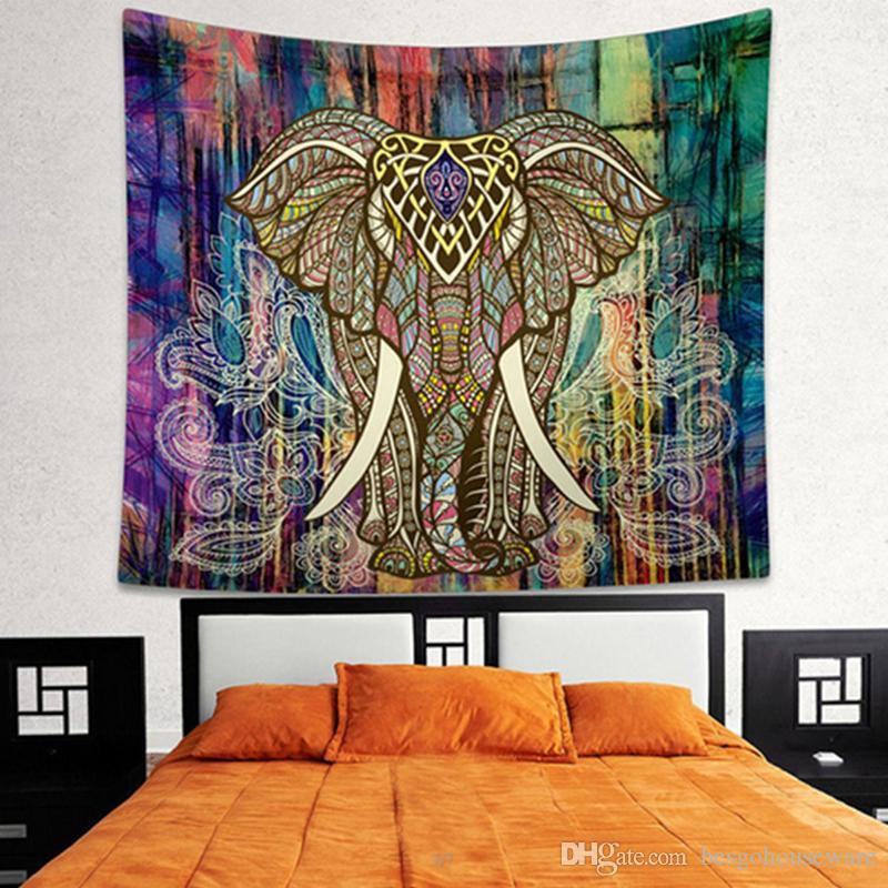 21 Tapisserie de Tapisserie de Yoga Tapisserie de Tapisserie de Yoga de Serviette Éléphant Paon Maison Cuisine Décoration Peinture BH2216 CY Tapisserie d'impression