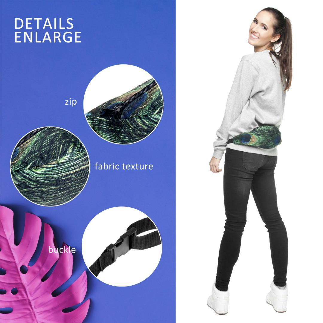 Blue Peacock Sport Waist Pack Fanny Pack Adjustable For Travel