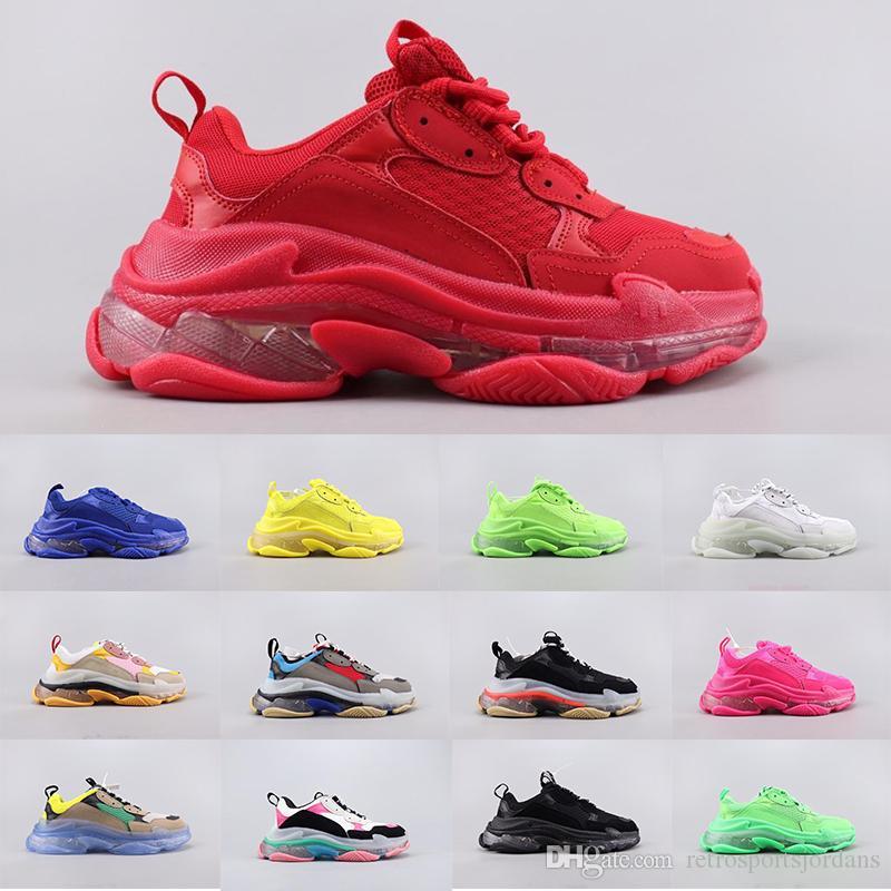 Womens Mens Triple-S 디자이너 신발 플랫폼 스니커즈 클리어 유일한 솔리드 캐주얼 럭셔리 아빠 신발 수집 가능한 품질 chunky triple s double foam sneaker