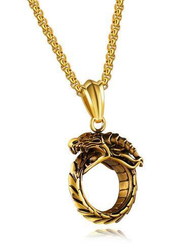 Retro Gold/Black Colors Ouroboros Dragon Pendant Necklace Fashion Classic Titanium Steel Men's Necklace Jewelry colar masculino