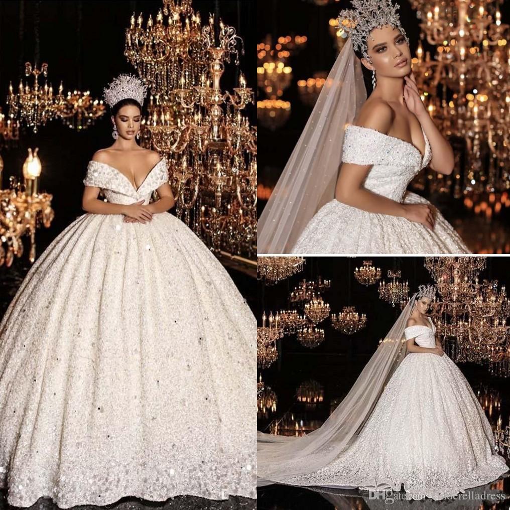 2020 Princess Off the Shoulder Wedding Dresses Beaded Sequins Short Sleeve Ball Gown Lace Bling Bling Luxury Wedding Gown Vestidos De Novias