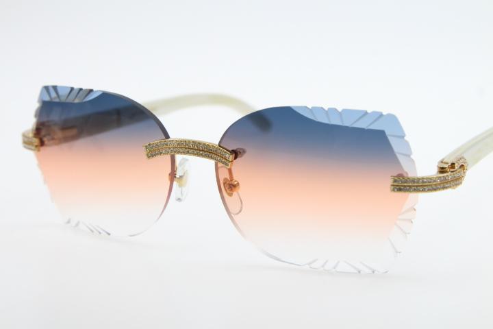 Оптовые Большие камни очки белых Подлинные Природные Horn 3524012 Rimless Солнцезащитных очков унисекс Buffalo очков с коробкой Резного объективом Новым