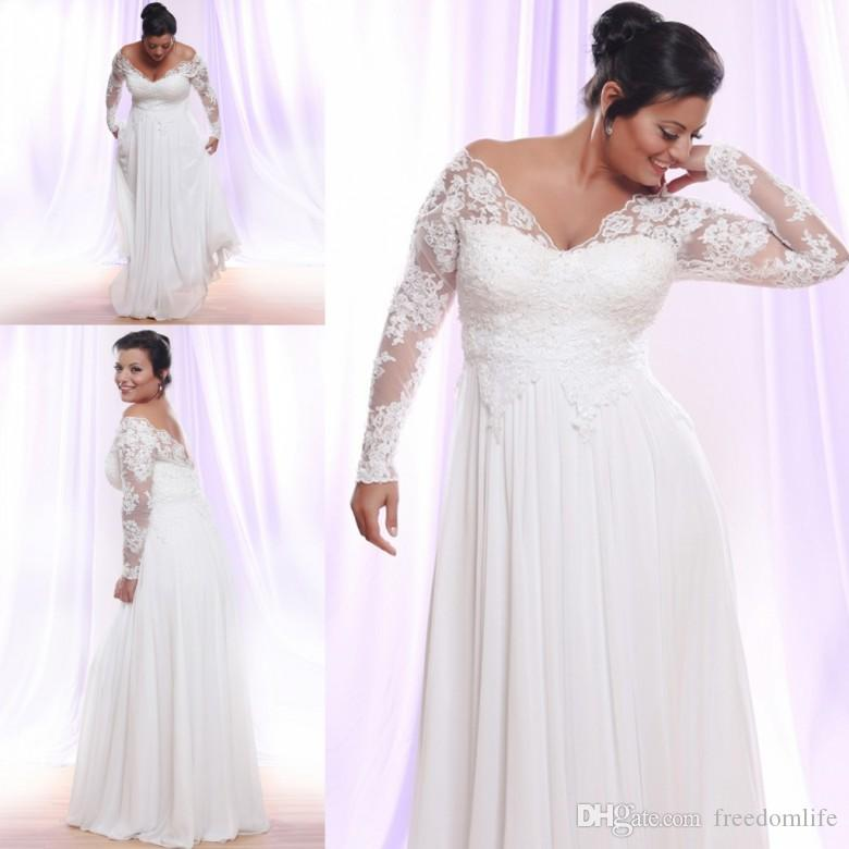 Vintage Chiffon Plus Size Wedding Dresses Long Sleeves V-neck Lace Applique Beach Bridal Gowns Backless 2019 Vestido De Novia