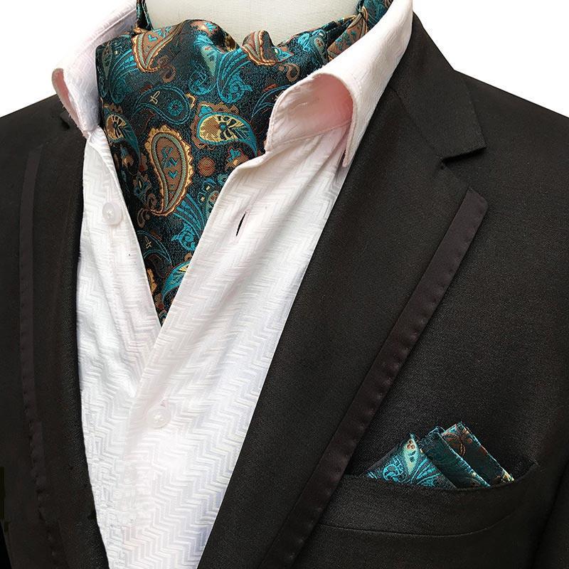 Hombres Seda Ascot grupo de unión hombre del pañuelo corbata pañuelo de Paisley floral Establece los puntos de fiesta de la boda del bolsillo de la plaza corbata para