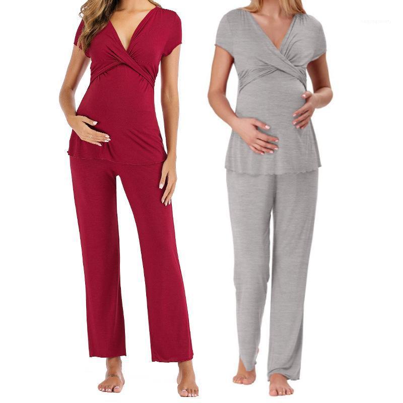 Respirante en vrac Sets Couleur unie manches courtes Femmes Pyjama maternité Femmes enceintes nuit d'été d'alimentation Bady Convient confortable
