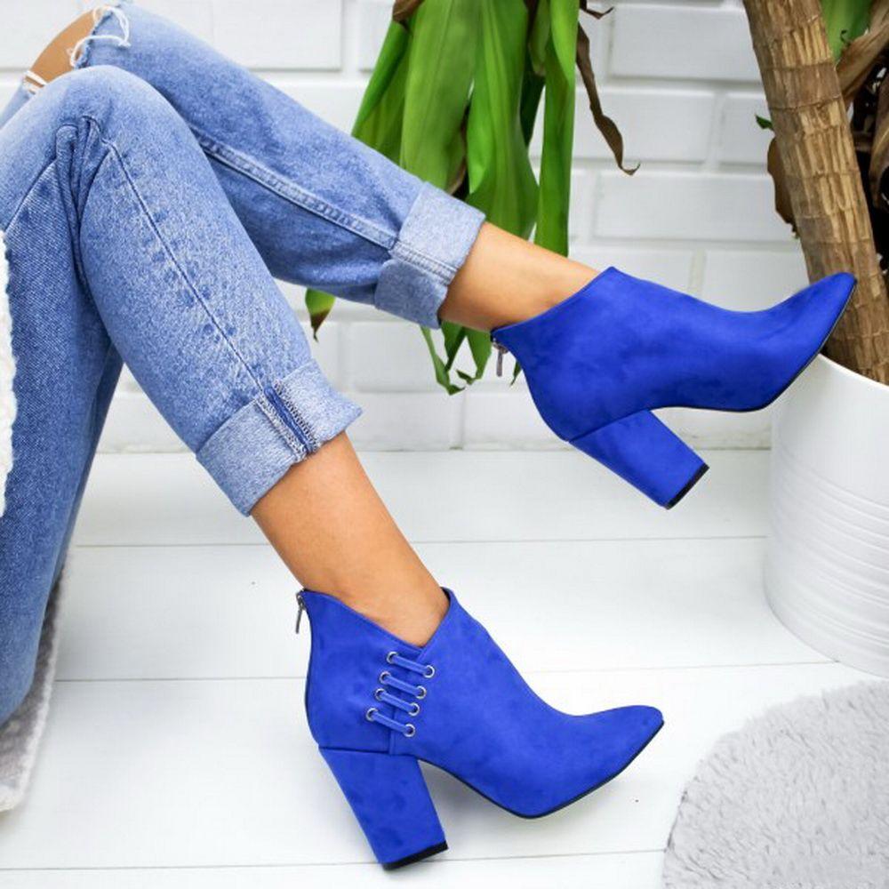 Calde di vendita-2019 Donne Stivali bassi Scarpe casual solido di colore a punta le dita dei piedi Feeetwears autunno Zip Piazza Alti Donna Alti Aumento dei bottini Altezza
