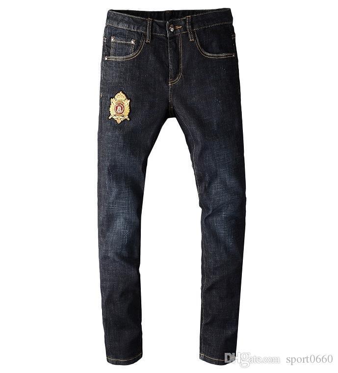 2020 Yeni Erkek Kot Lüks Fermuar Fly İnce Kalem Tasarımcı Pantolon Siyah Yüksek Kaliteli Jeans Boyut 29-40