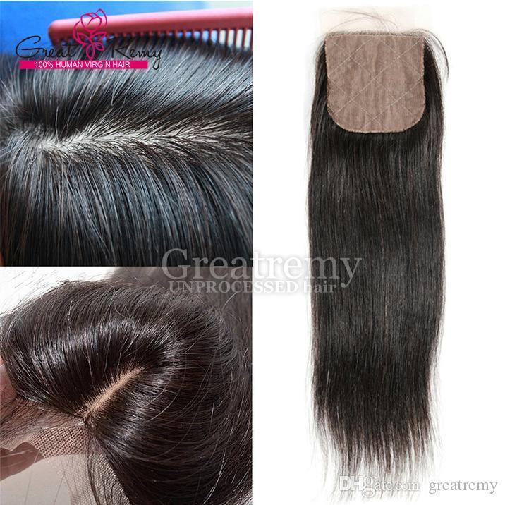Greatremy parte libre recto de base superior de seda de 4 * 4 blanqueado nudos peruana de cierre cordón del pelo humano natural de la rayita Postizos
