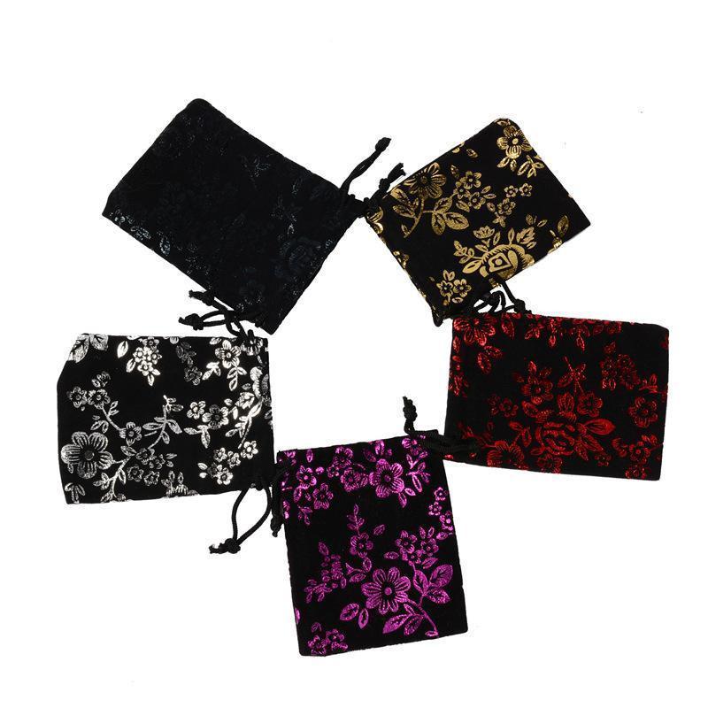 Soft Velvet Jewelry Pouches Rings Necklace Earrings Stud Bracelets Bangle Gift Drawstrings Packaging Bags Flower Pattern Bags
