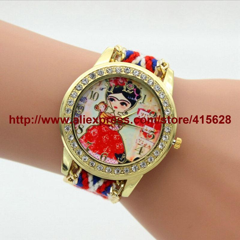 Moda Handmade trançado Amizade pulseira relógio de corda das senhoras do macaco Assista Casual Mulheres Quarzt Relógios 100pcs / lot