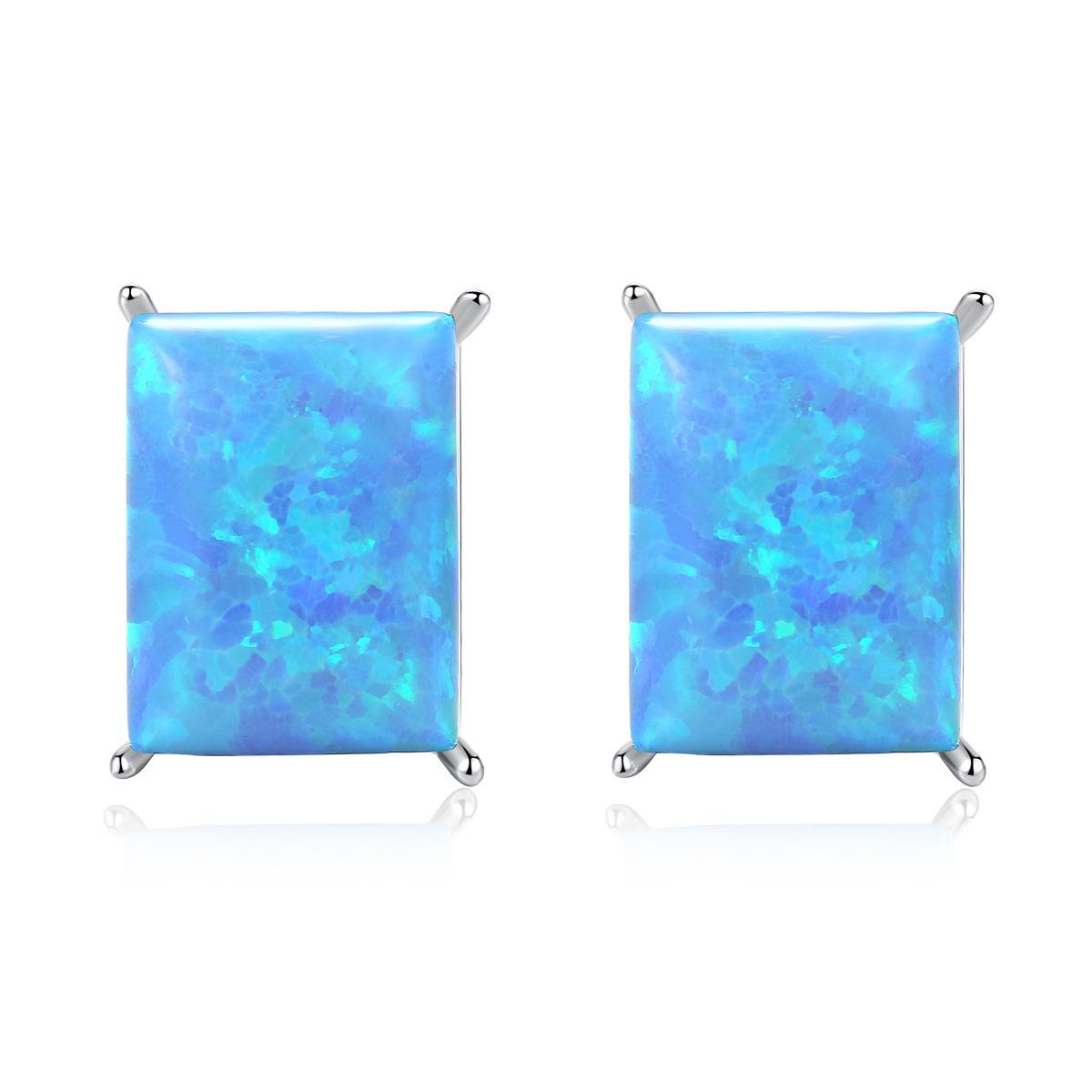 JARRY Blue Opal Stud Brincos Para Mulheres 6mm * 9mm Square Fire Opal 925 Sterling Earring Fine Jewelry Brinco SE0231