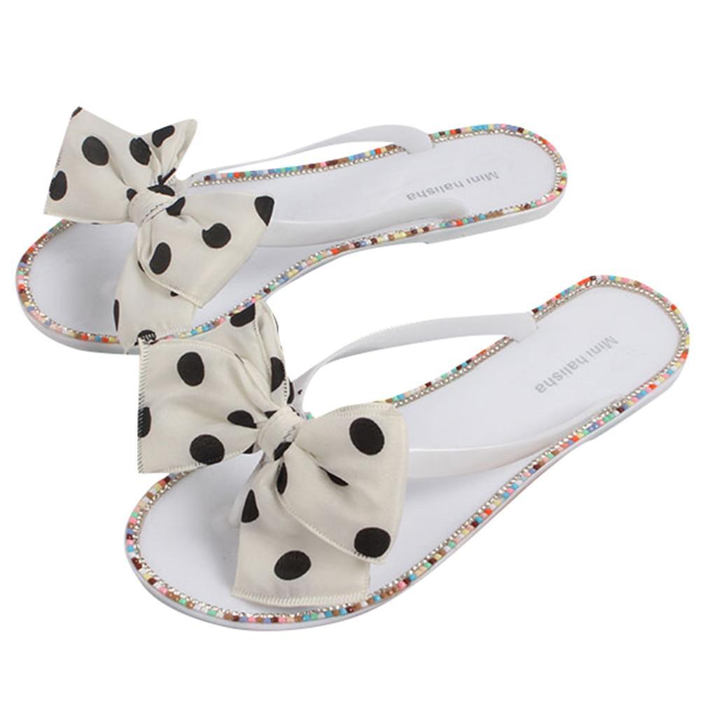 Polka Dot borboleta-nó Clipe Toe flip flops Mulheres Praia macios Sapatos Mulher planas Salto Schoenen Vrouw Verão Chinelos Mulheres