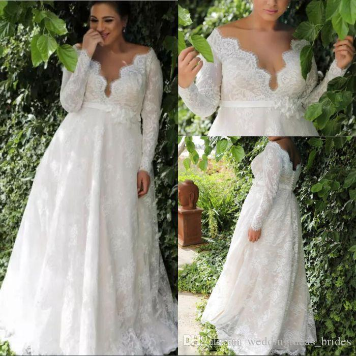 Garden A-line Empire Waist Lace Plus Size Wedding Dress With Long Sleeves Sexy Long Wedding Dress For Plus Size Wedding