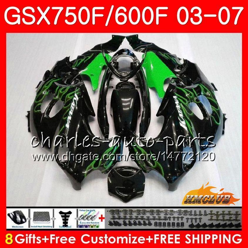 Kit de cuerpo para Suzuki Katana GSXF600 GSXF750 03 04 05 06 07 GREEN LLAMES 3HC.54 GSX750F GSX600F GSXF 750 600 2003 2004 2005 2006 2007