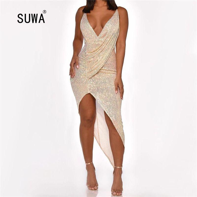 Wedding Party Dress Sexy Femmes Soirée magnifique Lady Blink plissés col en V asymétrique cheville longueur Robes Robes T200615