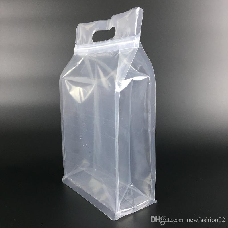 29 * 18 + 8cm 50pcs altamente guarnizione della chiusura lampo trasparente piedi impacca con supporto maniglia chiusura lampo sacchetto di plastica trasparente sacchetto dell'imballaggio