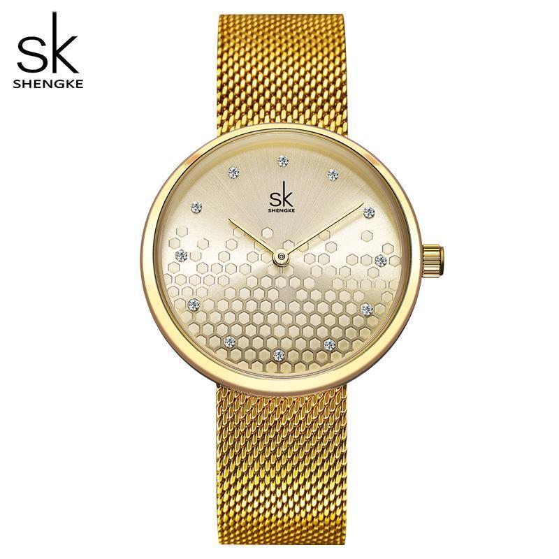 Shengke Frau Uhren Gold Top-Marke Luxus-Uhr-Frauen-Quarz-wasserdicht Frauen-Armbanduhr-Dame-Mädchen Uhren Uhr