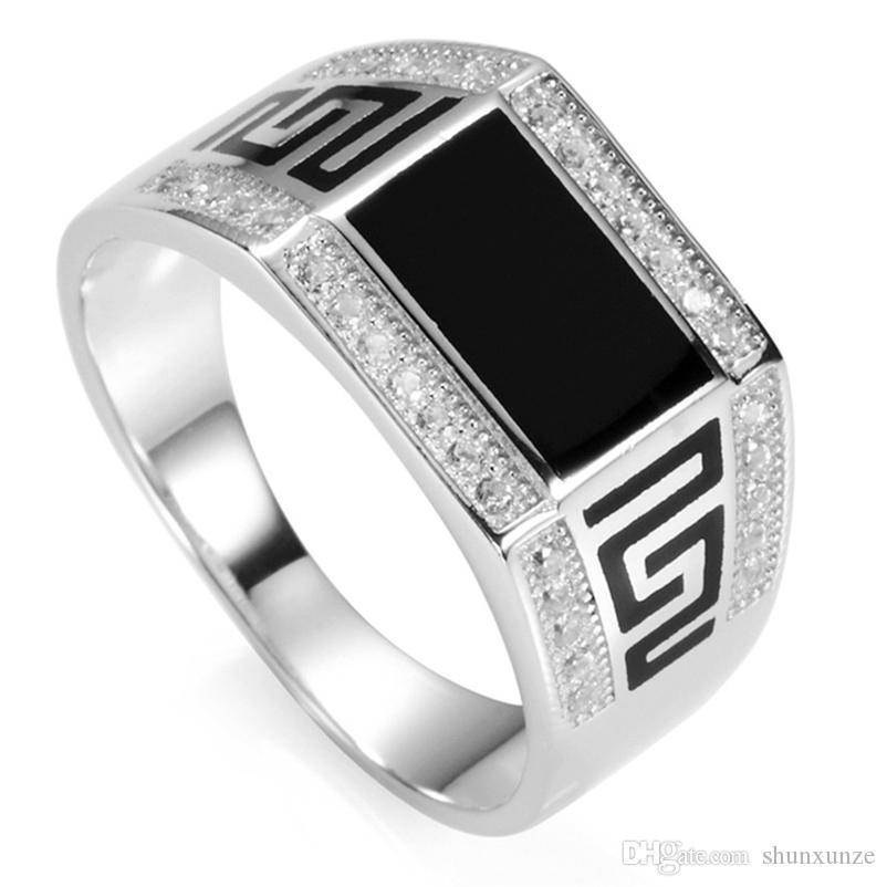 Shunxunze Explosion Models Kerstcadeaus Engagement Bruiloft 925 Sterling Zilveren Ringen voor Mannen Black Resin Dropshipping S-3778 Maat 7 - 13