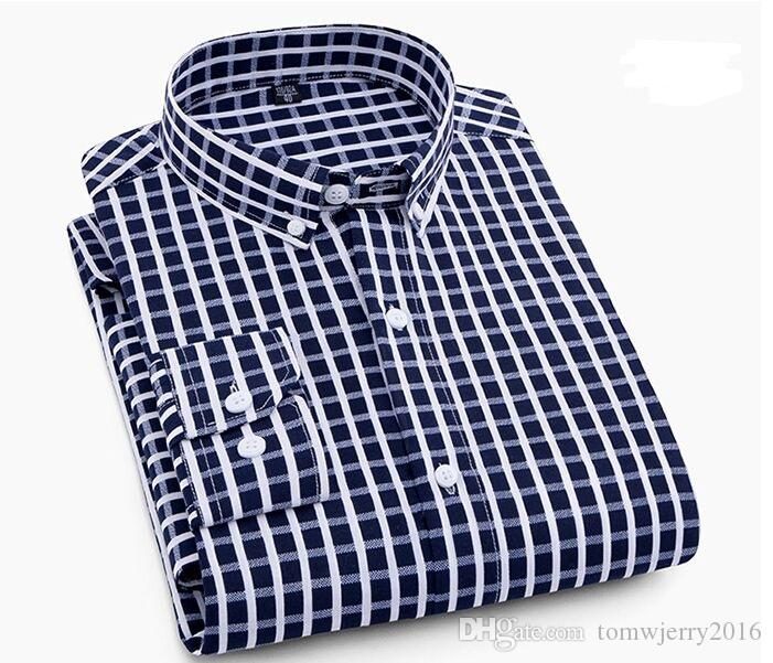 New Hot Sale Plus Size Men's Clothing Male Fashion Business Casual Shirt Men Classic Slim Stripe & Plaid Long sleeve Shirts