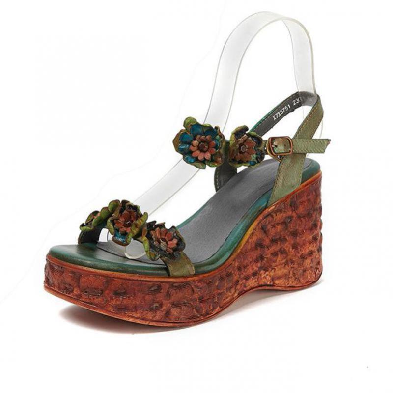 YourSeason couro genuíno Salto retro alta Mulheres Buckle amarrar os sapatos 2020 Cunhas sandálias plataforma Autumn Ladies Verão