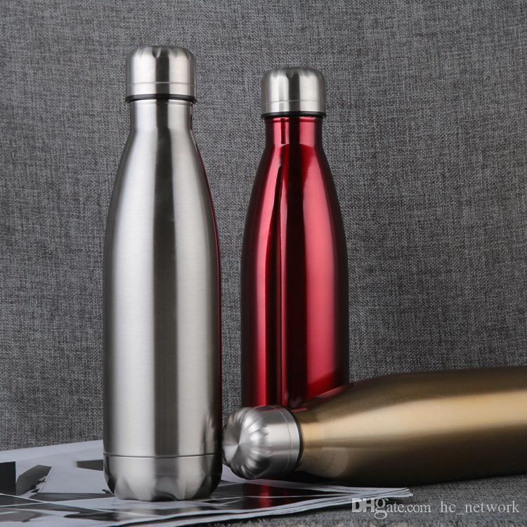 750ml Edelstahl Wasserflasche Cola Form der Flasche im Freien Reise Sport-Becher Kaffeetasse vielen Farben Freies Verschiffen