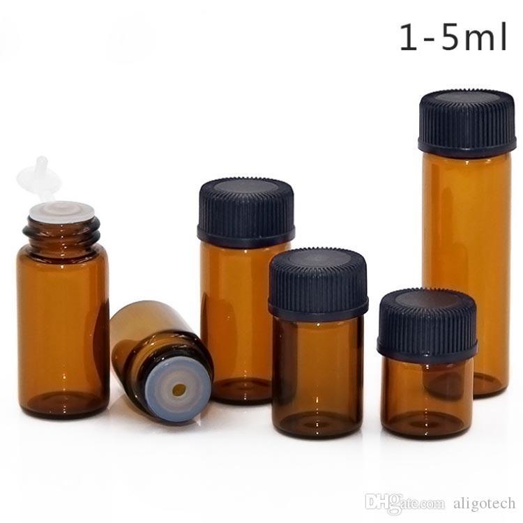 1ml 2ml 3ml 5ml Amber Mini Glass Bottle Essential Oil Dropper Display Vial Small Serum Perfume Brown Sample Container 2000Pcs/Lot Free DHL