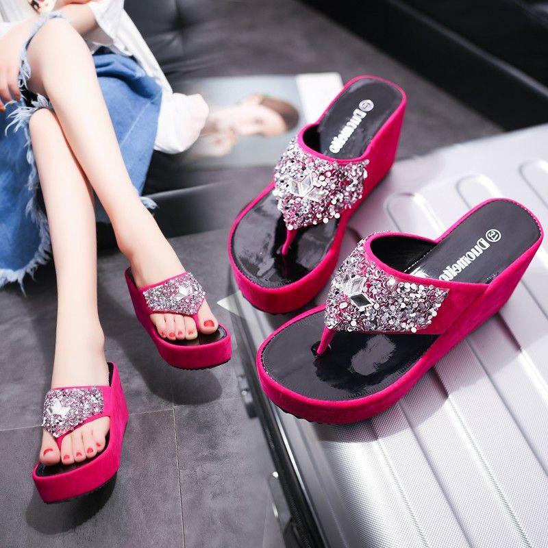 sandalias de punta nueva zapatillas de cuña de la manera de clip del Rhinestone sandalias y zapatillas de las mujeres del verano de espesor bizcocho inferior flip-flops