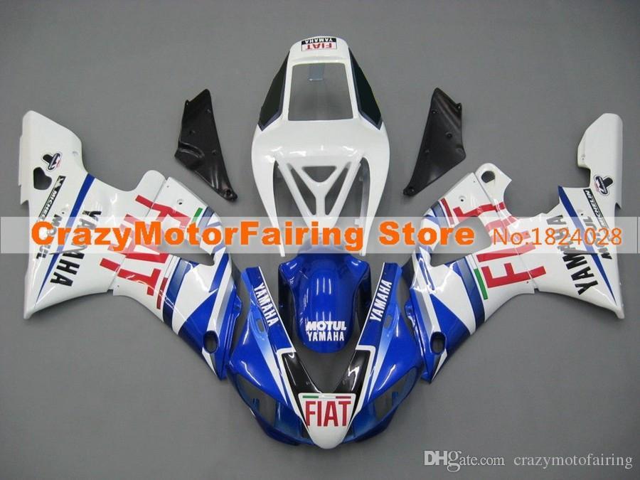 4 regalos del nuevo ABS moho motocicleta carenados Fit Kits para YAMAHA YZF-R1-1000 1998-99 98 99 de alta calidad de la carrocería del carenado azul blanco personalizado