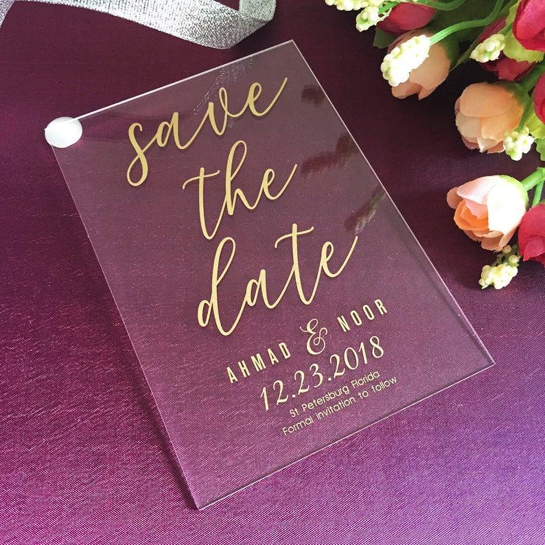 50 Stück personalisierte goldene Save the Date Acryl Einladung, Luxus Unique Day Einladungen, Hochzeitseinladungen